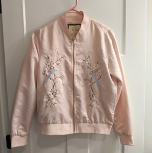 Satin Embroidered Pink Bomber Jacket Ci Sono